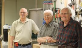 Bob, Cy and Harry say the social aspect of the woodshop at Tansley Woods is as important as any project they may work on.
